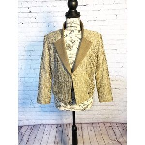 T by Tahari Cropped Metallic Jacket